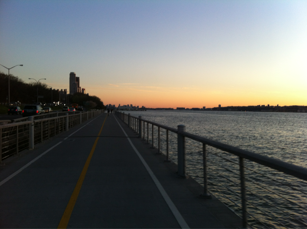 Sunset over the Hudson on my ride tonight.