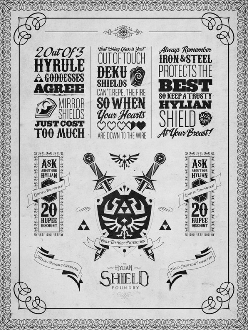 videogamenostalgia:  Legend of Zelda - The Hylian Shield Foundry - by Barrett Biggers Available on Society6