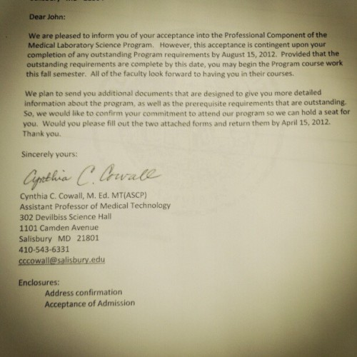acceptance to the med tech program! #hardwork (Taken with instagram)