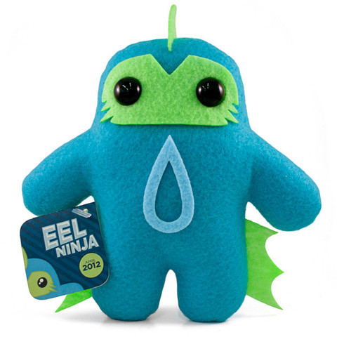 Ninja of the Month: Eel Ninja Shawnimals' plushy ninja for the month of April is Eel Ninja. He has an awesome color scheme and zaps you if you try to manhandle him. I lied about that last part. Fear not, Eel Ninja is not slippery or slimy; he's nice and soft and schmooshy. Buy him for $30 at Shawnimals.