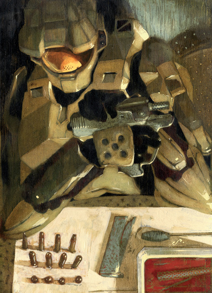 deepseafission:  sterlinghundley:  Sterling Hundley: Master Chief for Halo trading cards. Wish they had let me remove his helmet and armor- can't say I didn't try. Anyone recognize the pistol?  What who would ever recognize that pistol don't be ridiculousnyou think anyone has the time to play your game and memorize exactly how every weapon looks it's just a generic halo pistol come on I mean really sarcasm/ I know, they've got more important things to do like reblogging and learning grammar. Thanks for reposting my work, though.