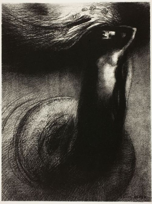 "Odilon Redon Death: ""Mine irony surpasseth all others"" 1889 Lithograph  Inspired by Flaubert's Temptation of St. Anthony. Redon was shy, quiet and awkward. He lived in his head, and that world became his art. He worked against the grain of his contemporaries, and he is— in my opinion, one of the finest artists of the past 200 years. The way he works with shadow in this piece is amazing, and i love the shapes: circular spiral, cylindrical Death— like a pillar— and the wave of light and flowers… Redon could do so much with Black."