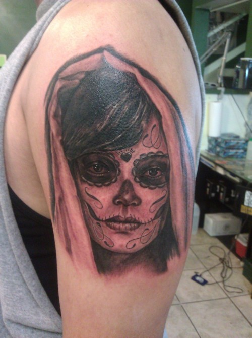 Another custom day of the dead girl, start to half sleeve