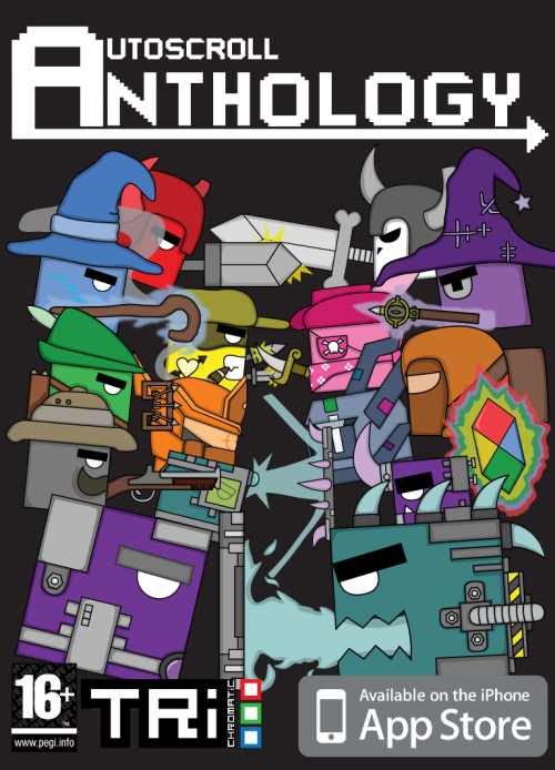 Mock front cover of autoscroll anthology for the iphone, even though I did upload one for the 360 (which was the intended platform) since I redid it for the iphone/ios I saw it fitting that it should have a cover to go with this.   Even though ios is a purely digital transaction medium..hm.