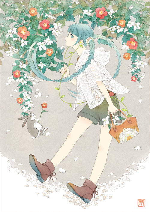 Flower Miku by ~conronca
