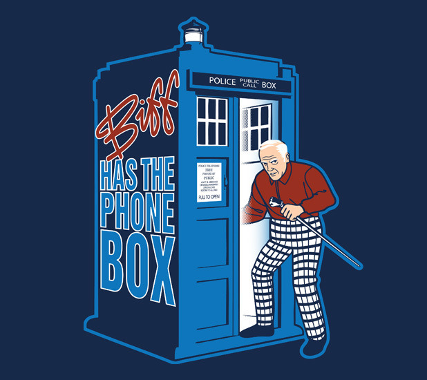 ianbrooks:  Biff Has The Phone Box by Kal5000 Designs Shirt available today only (4/5) at teefury! Get it before time is altered and you no longer exist!  Artist: redbubble / facebook