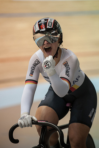 womenscycling:  Kristina Vogel, after winning the Team Sprint - UCI Track Cycling World Championships 2012 - Day 1 (by britishcycling.org.uk photos)