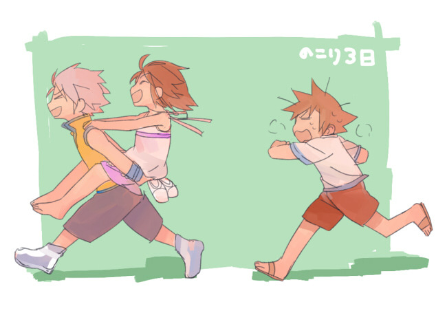 kairidrive:  Run, Riku, Run! Sora's always been the slowpoke of the group.