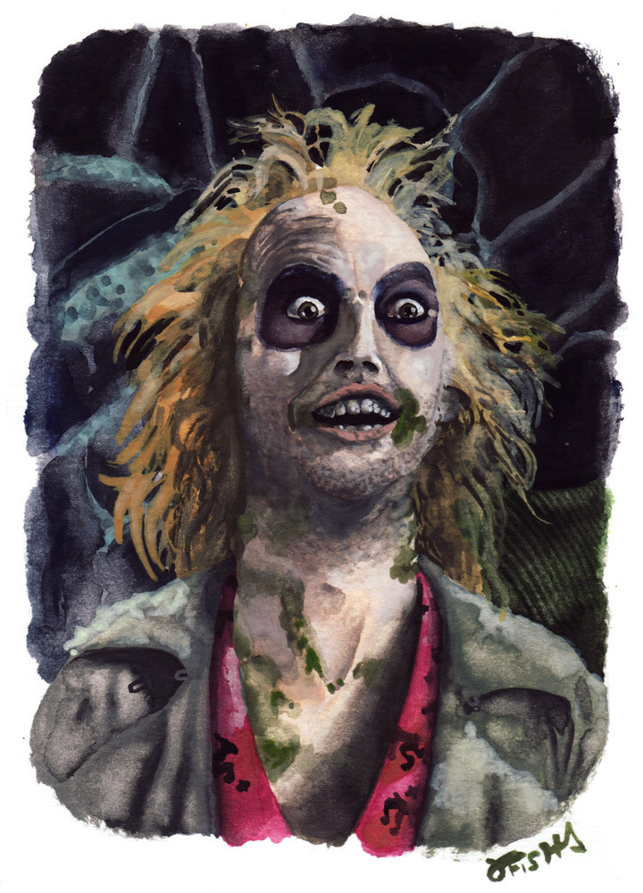 studiojfishart:  Here is a watercolor portrait of Michael Keaton as Beetlejuice for The Ghost Show opening April 5th at the Pony Club Gallery. Come get spooked!  My Beetlejuice watercolor painting is now for sale on the Pony Club Gallery Etsy shop! Help support a great Portland gallery and an independent artist and get a portrait of your favorite ghost to hang in your attic!