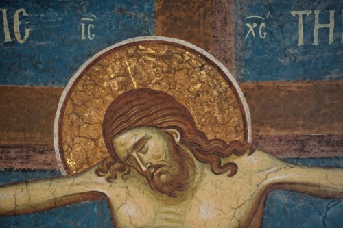 The Crucifixion of Jesus Christ, detail of fresco from Decani Orthodox Monastery