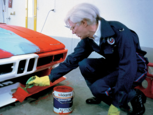 fckyeaharthistory:  Andy Warhol painting a BMW Art car, 1979.