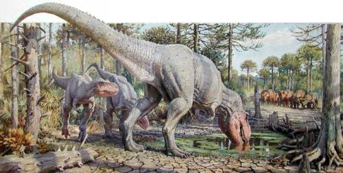 "paleoillustration:  ""T. Rex/Watering Hole"" by James Gurney  Love everything dinosaurs."