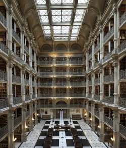 theblackworkshop:  The George Peabody Library at Johns Hopkins University Location: Baltimore, Maryland I United States
