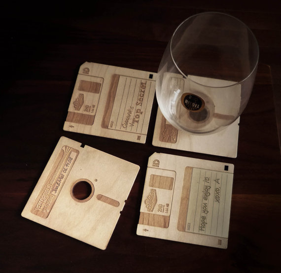 I love you Etsy.  Yes, that is indeed wooden 3.5 floppy coasters, just what every geek needs to spruce up that drab coffee table. Etsy