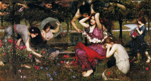 paumorgan:  'Flora and the Zephyrs' by John Waterhouse 1897 by Plum leaves on Flickr.