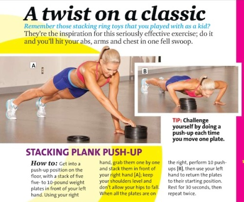 Stacking Plank Pushup: Move a plate, do a push-up.