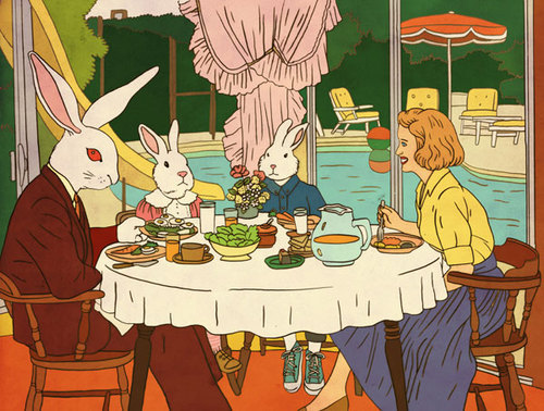 "2headedsnake:  flickr.com:photos:8598277 Rutu Modan, ""Rabbit Dinner"""