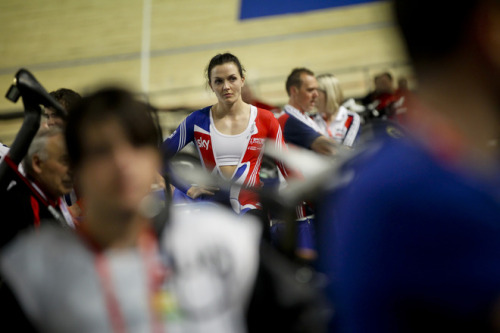 Victoria Pendleton (C) of Britain warms up before the Women's Sprint heats at the 2012 Track Cycling World Championships in Melbourne on April 5, 2012. (via Cycling - Photo Gallery - Yahoo! Sports)