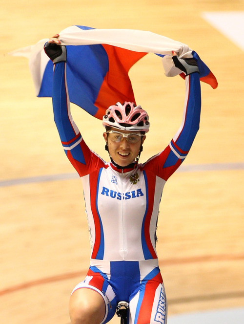 Anastasia Chulkova of Russia celebrates after winning the Women's Points Racel Final at Hisense Arena on April 5, 2012 in Melbourne, Australia. (Photo by Mark Dadswell/Getty Images) (via Cycling - Photo Gallery - Yahoo! Sports)