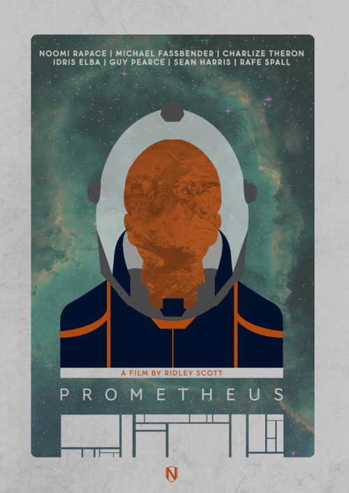 fuckyeahmovieposters:  Prometheus by Matt Needle  I don't neccessarily think I like this poster more than the original (see below) but it gives me an excuse to blog about this movie.  Prometheus, directed by Ridley Scott, has been described by those involved as not quite a prequel to Alien.  It takes place in the same world, but apparently is only tangentially related.  That's fine by me.  I just recently saw Alien for the first time and I'm hungry for any outer-space goodness Ridley wants to throw my way.  Also, the trailers look INCREDIBLE.   I do like how in the above poster, the sense of mystery the characters face when trying to find intelligent life is reflected in this poster with few visual signifiers and details.  On the other hand, the original poster has a sense of something mysterious and a feeling of epicness created by the astronaut that is dwarfed by the statue.  The tagline kinda takes some of the wind out of its sails though.