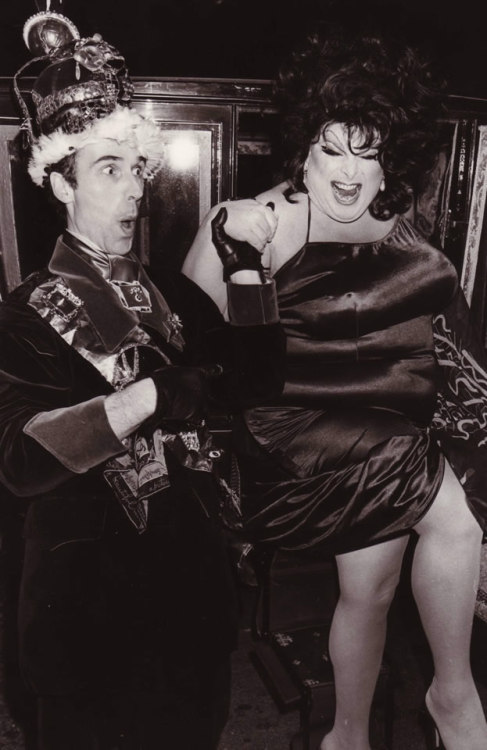 Andrew Logan and Divine at the London premiere of Alternative Miss World, 1978