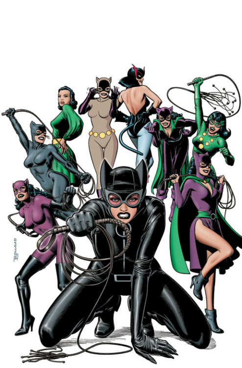 The cartoon faces of Catwoman.