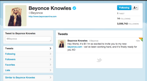 season4:  Beyoncé's first tweet