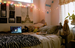 Bed,Bedroom,Cosmos,Cute,Lights,Paris - inspiring picture on PicShip.com on We Heart It. http://weheartit.com/entry/26030138