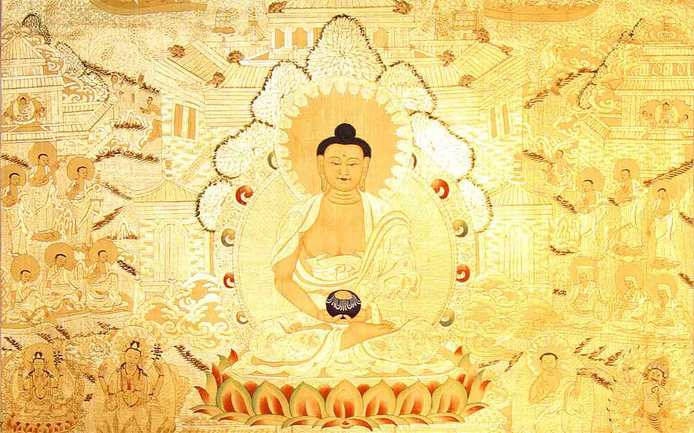 "sharanam:  Amida Buddha is the heart of Shin Buddhist faith and practice. First revealed by the historical Buddha over 2,600 years ago, the name Amida is Japanese which is derived from Amitabha or Amitayus of the ancient Sanskrit language, which means 'Immeasurable Life and Light' or Oneness. The word Amida is a personification or symbol for the transcendent reality and mystery, which is ""unborn, uncreated and formless"" which is also known as dharmakaya, nirvana, shunyata (emptiness). Amida Buddha is a personification expressing that which is incomprehensible. This inconceivable transcendent realm is called Dharmakaya, which is Sanskrit meaning 'the body of truth.' This word points to the non-conceptual ultimate dimension and the true nature of things including ourselves. Amida Buddha in turned is the sambhogakaya or the compassionate expression of this formless transcendent realm. She gives us a concrete image that helps us to understand that which is beyond understanding. Amida is also synonymous with the terms One Life, the Great Compassion and Buddha Nature. Buddha is a term meaning a few things: firstly, it is any life form that has awakened to boundlessness; secondly, it is the deepest nature of all things, which is undifferentiated and selfless; and thirdly, it is our inner potential, reality and destiny to live a life of pure compassion and wisdom. Read more about Amida Buddha  ~reblogged by Trent Gilliss, senior editor"