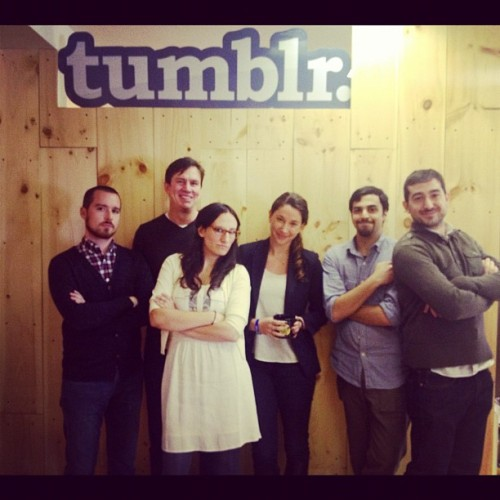 markcoatney:  jessbennett:  Newsweek.com alumni in the Tumblr house! (Taken with Instagram at Tumblr HQ)  We happy few.   Newsweek ex-pats are still finding ways to collaborate.   P.S. Jess and I opted for the hardcore look.