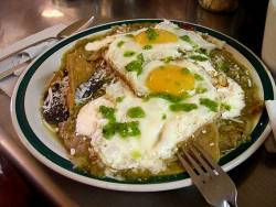 rototudor:  mexicanfoodporn:  Buenos Pinches Días Enchiladas Verdes con huevos estrellados Good Fucking Morning Green Enchiladas with fried eggs  I need a moment