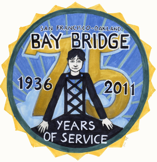 While the Muni centennial and the Golden Gate Bridge 75th anniversary are getting more publicity, a certain other large bridge had his 75th birthday back in November of 2011… The actual Bay Bridge 75th anniversary logo is © Caltrans, the Bay Area Toll Authority, and the California Transportation Commission.