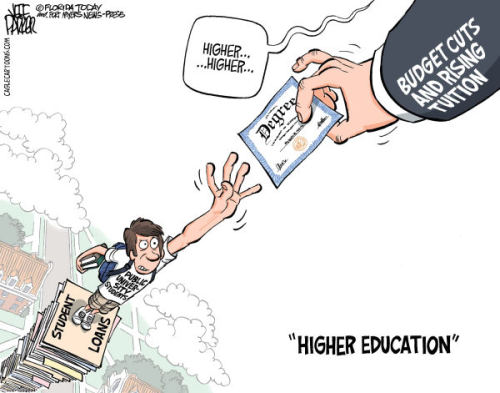 cartoonpolitics:  Student loan debt, at $830 billion, now exceeds total US credit card debt, itself bloated to the bubble level of $827 billion.  More here.. -Thalia Hernandez