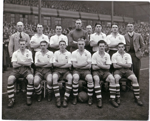 theredsgallery:  Two legends united: Tom Finney (bottom, far left) and Bill Shankly (bottom, centre with ball) line up for Preston North End at Villa Park in 1947.