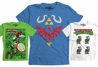Mascara De Latex tees featuring mashups combining video games, pop culture, and comics