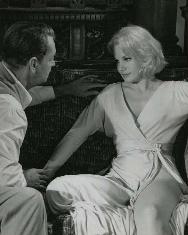 "abissalefuoco:  Carroll Baker and Alan Ladd. ""The Carpetbaggers"" (1964). The film was directed by Edward Dmytryk."