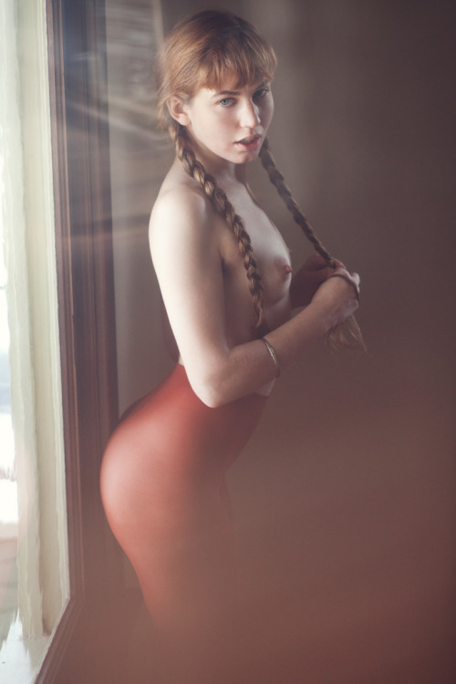 syntheticpubes:  by Brandon Witzel  She's beautiful.  I love the braids with bangs.  Her age is indeterminate however.  Her body looks like it's 20.  Her arms and hands look like they're 30.  Her face looks like she's 16.  I don't care how old she is I would love to meet her.