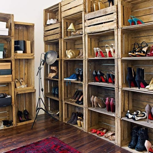 DIY: crates as shoes organizer! (via A Beautiful Living)