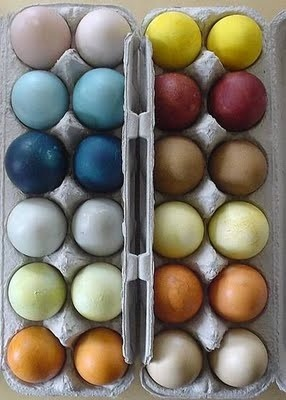 Natural Egg Dye So after exploring this really great article about dying eggs the natural way- here. I decided to give it a go. My ingredients Redish pink- I used I used beats (they stain my clothes, fingers and cutting board when I cook them so why not eggs ) You actually don't need to boil these bad boys. I boiled one and then very finely choped 2 more fresh beat that I added to the mix after. This dye was by far the most electric. Green- I used spinach, fresh basil, and mint from my garden ( then I cheated and added bright green kool aid when I wasn't happy with the color I was getting). Yellow -I used cumin, camomile, and lemon peel Orangey - I used purple chard, chopped carrots and orange peel Light brown- coffee grounds and tea SOOOO after this So I was quite impressed with the mess I managed to make and the extremely strange  smell that lingered in my kitchen afterward. My results were not quite what I wanted but it's something I will definately investigate more in future.  Maybe with textiles!  Here are my results.