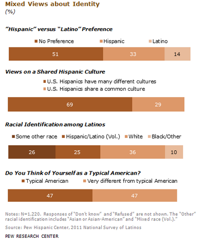 """Hispanic"" vs. ""Latino""? A majority (51%) say they most often identify themselves by their family's country of origin; just 24% say they prefer a pan-ethnic label. Source: Pew Hispanic Center"