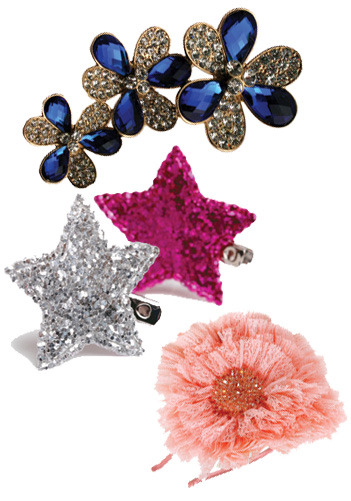 The best hair bling for your spring fling? These babies!  Flower pin from Fantasy Jewelry Box. Star clips from Goody. Headband from D&Y