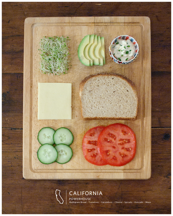 thingsorganizedneatly:  SUBMISSION: Sandwich #7: California Powerhouse // www.StatelySandwiches.com