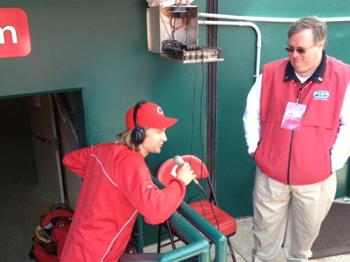Bronson Arroyo doing a radio interview.