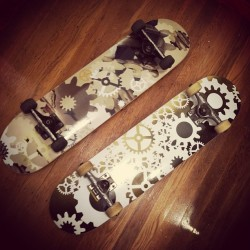 Awesome, the boys are now riding their #skateboards I made them (Taken with instagram)