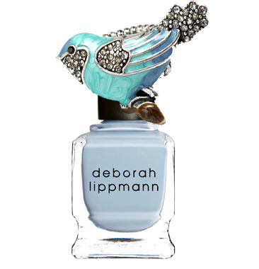 Mani match up! Pair flashy baubles with the perf polish. Deborah Lippman Nail Lacquer in Let's Hear It For the Boy. Bird ring from Fantasy Jewelry Box.