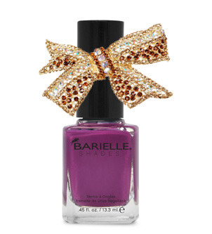 Pretty prom picks? Go for a royal flush with a deep shade of purple polish and regal rhinestones. Barielle Shades in Daring Dahlia. Bow ring from MakeMeChic.