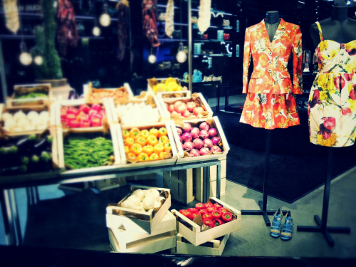 Fashion market: window display at Dolce and Gabbana