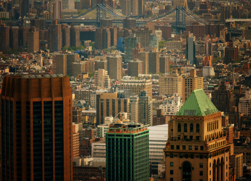 "nythroughthelens:  Looking out over the skyscrapers of the New York City skyline. Midtown. There is an inherent romance that can be found in the sheer density of the architecture of New York City. Buildings huddle close like lovers before a nervous first kiss. Their bodies rise up to the sky proud and majestic each one holding dozens if not thousands of stories. If you look intently you can see their bold spirits traveling with the wind carrying the hopes and dreams of those who share their world to soaring heights of possibility and promise. —- If you didn't see my initial contest entry post for the current Artists Wanted photography contest, you can still help me out by going to my contest entry page and clicking collect me —- View this photo larger and on black on my Google Plus page —- Buy ""Like Lovers - Skyscrapers of the New York City Skyline"" Prints here, email me, or ask for help."