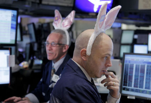 Photo of the day: Wall Street celebrates Easter, too. With bunny ears. (ht to my co-worker Sara; photo by Seth Wenig/AP)