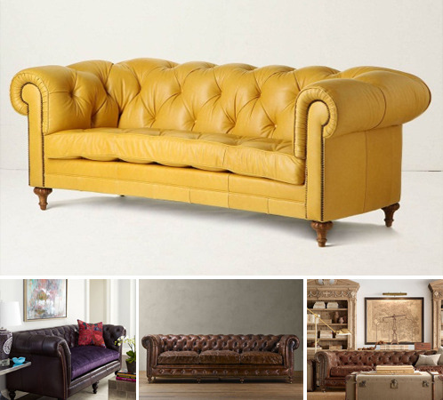 These comfy couches, with their tufted upholstery and rolled arms and backs are the ultimate combination of formality and relaxation. They look like they belong in the wood-paneled library of some distinguished English club. But with some cool color updates, they can look equally at home in just about any décor environment. Here are some of our absolute favorites.
